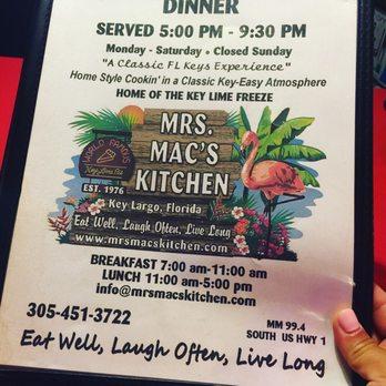 Mrs Mitchell S Kitchen Menu