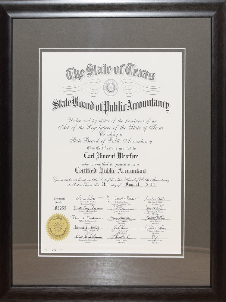 Custom framed State of Texas CPA Degree Certification/Diploma - Yelp
