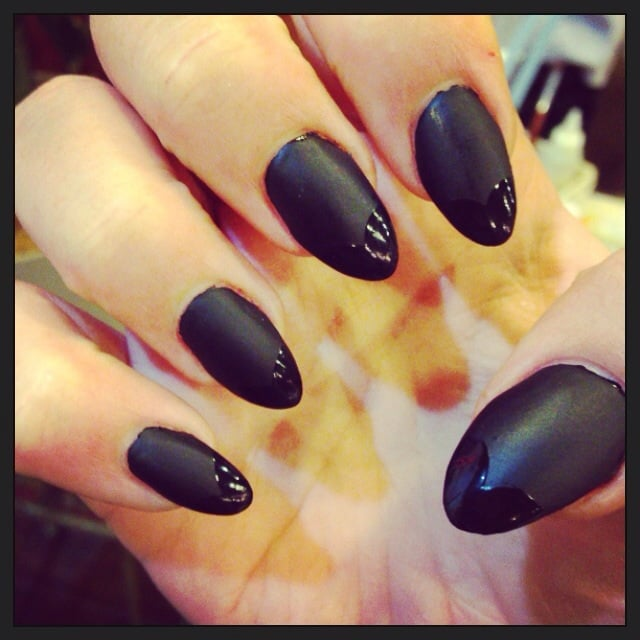 Matte black with shiny tips and almond shape. - Yelp