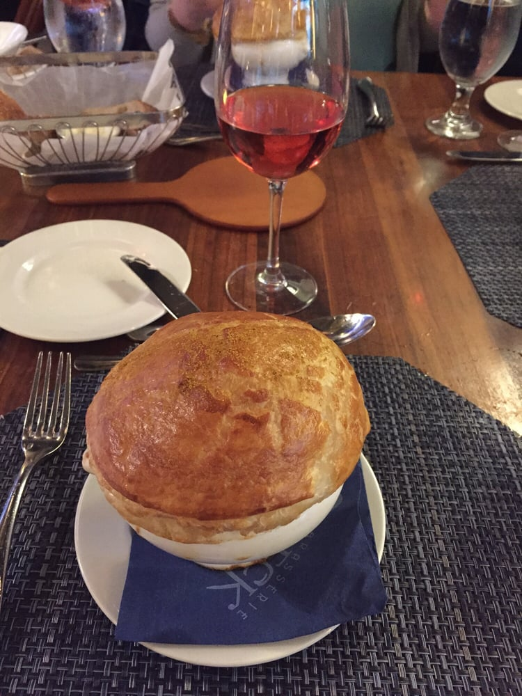 Lobster bisque with puff pastry on top - Yelp