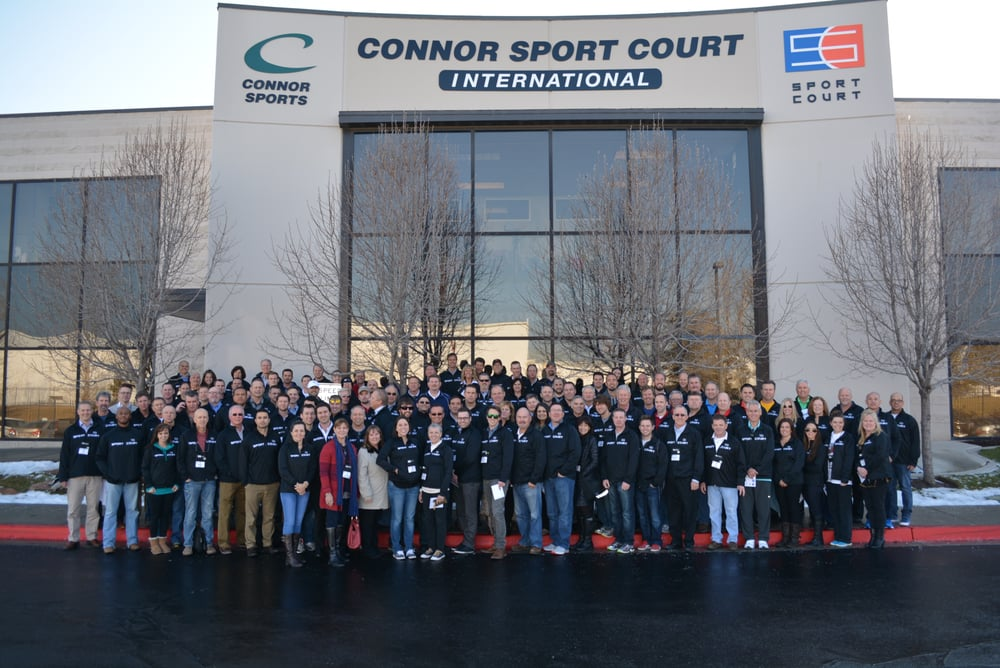 Courtbuilder network gather at sport court headquarters in for Sport court utah