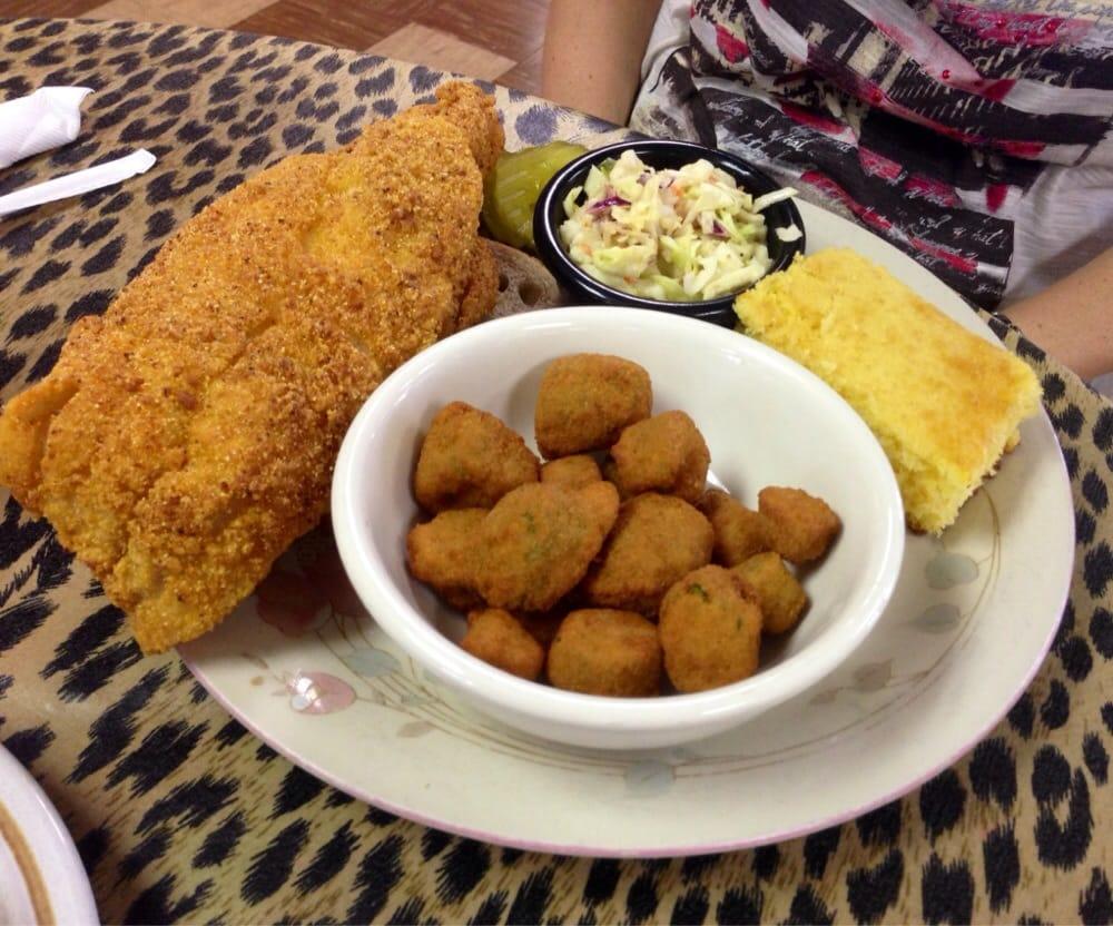 Big Mamas Kitchen Omaha Fried Catfish Fried Okra Cole Slaw And Cornbread Yelp