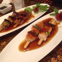 Kumo Sushi, Hibachi, and Lounge - New City, NY, United States. Yakotori and grilled beef stick
