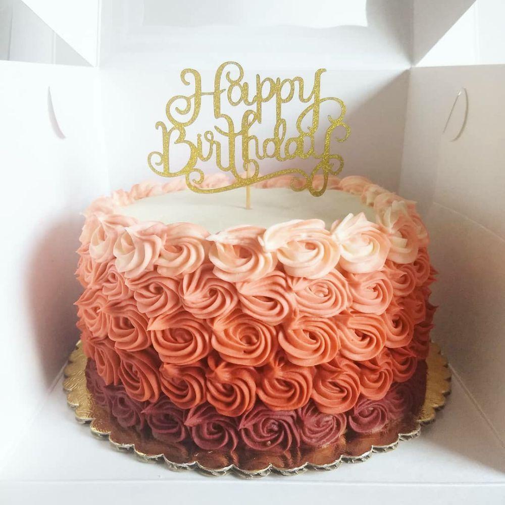 Small Red Velvet Ombre Rosette Cake Yelp