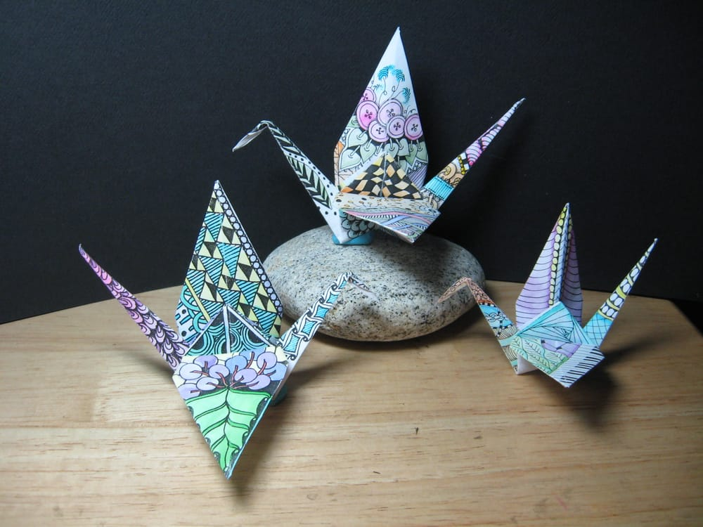 Photo of Paperplay - Franklin Square, NY, United States. Origami Cranes decorated with the Zentangle method
