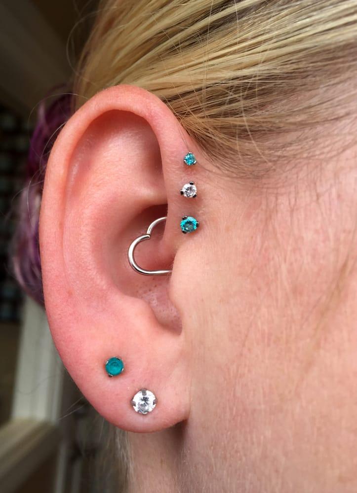Triple forward helix earring set uk jewelry - Porta piercing ...