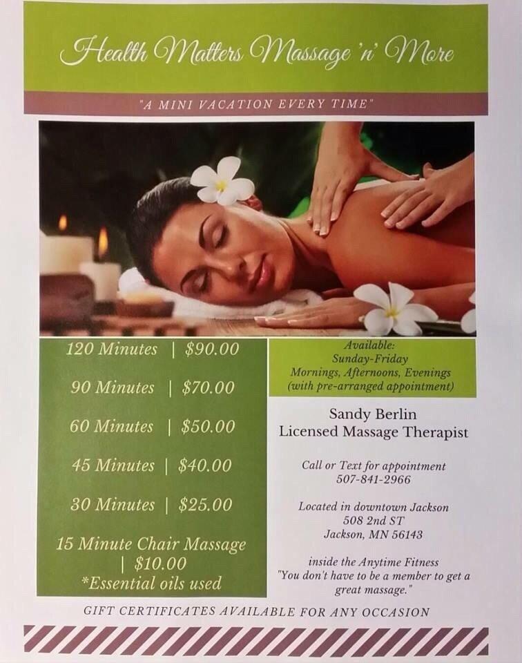 Health matters Massage 'n' More: 508 2nd St, Jackson, MN