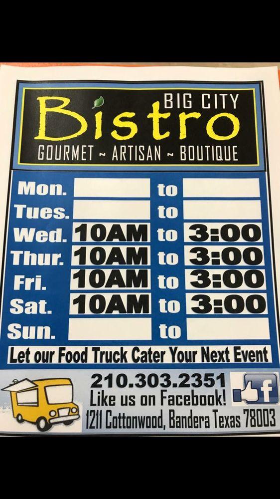 Big City Bistro: 1211 Cottonwood St, Bandera, TX