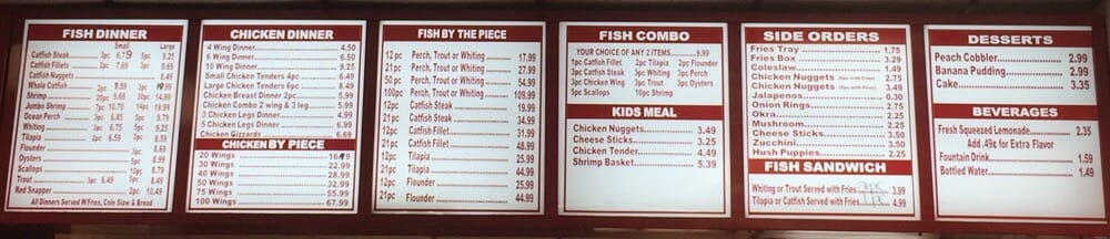 The ever allusive menu yelp for J j fish menu