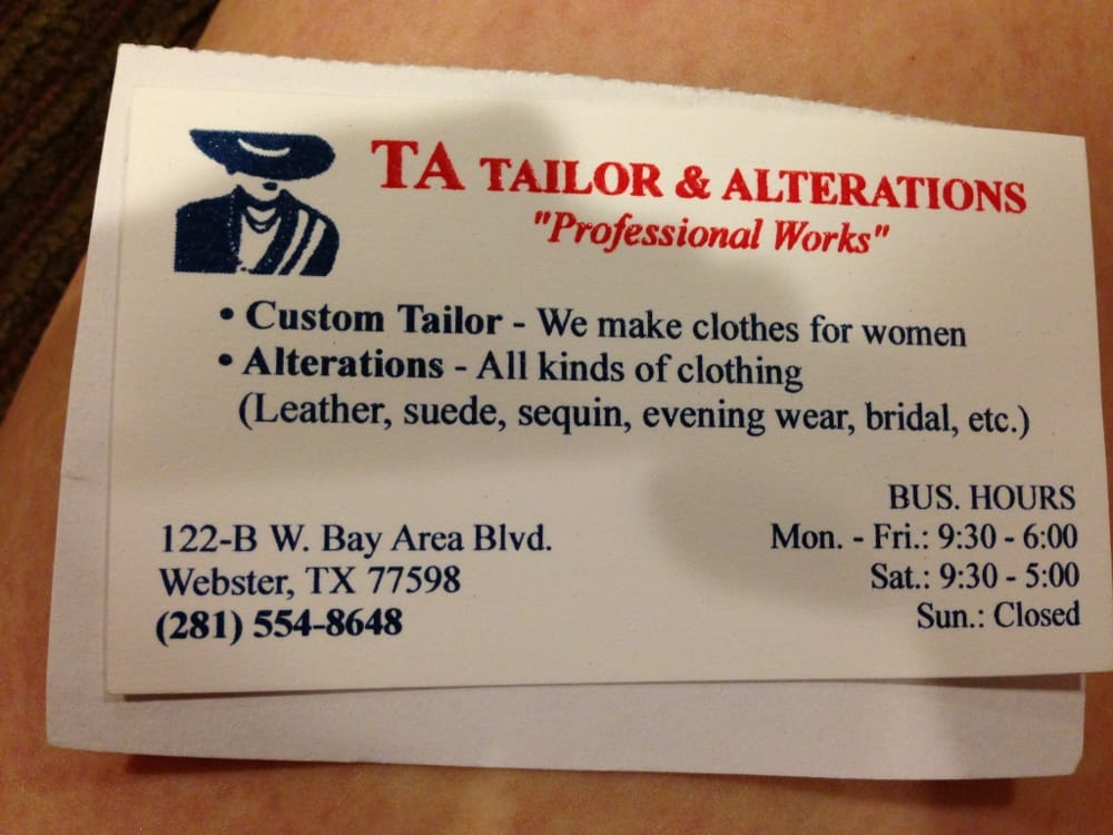 Business card yelp photo of ta tailor alterations webster tx united states business card colourmoves