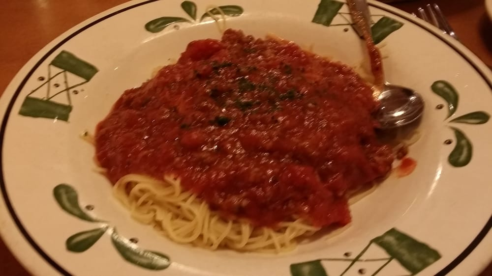 Spaghetti With Meat Sauce Angel Hair Pasta Yelp