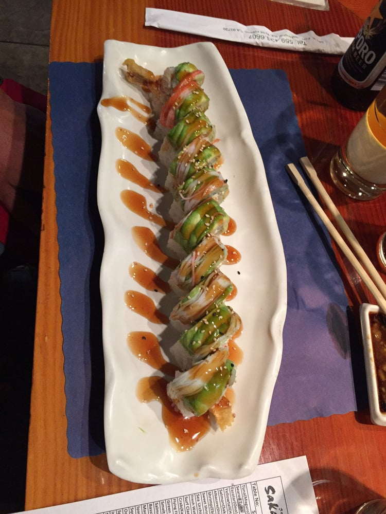 Green dragon roll tempura shrimp inside yelp for Asian cuisine fresno