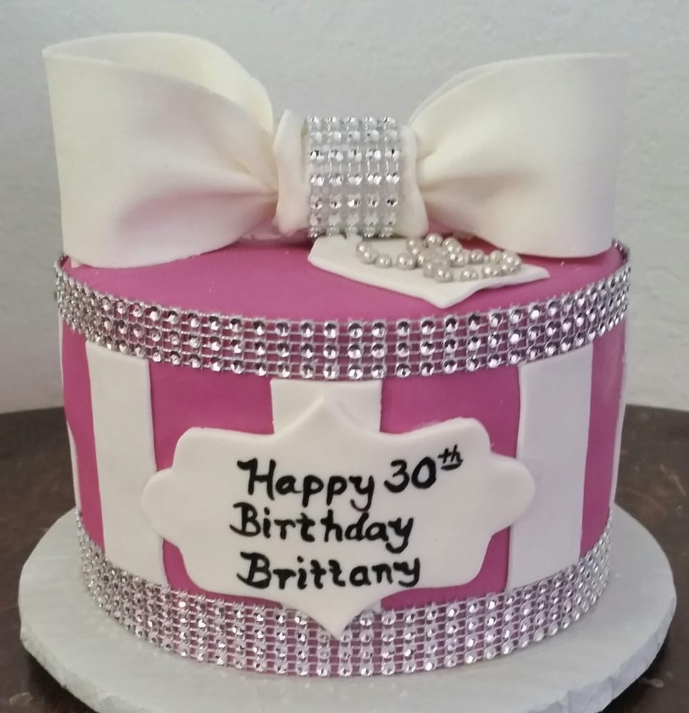 Pretty In Pink Present Cake With Gumpaste Bow And Cake Bling Yelp