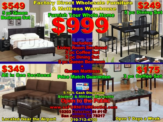 SA Furniture Outlet 10203 Kotzebue St Ste 117 San Antonio, TX Furniture  Dealers Wholesale   MapQuest