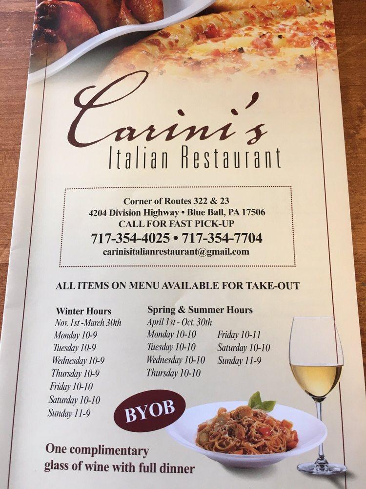 Carini S Italian Restaurant  Division Hwy Blue Ball Pa