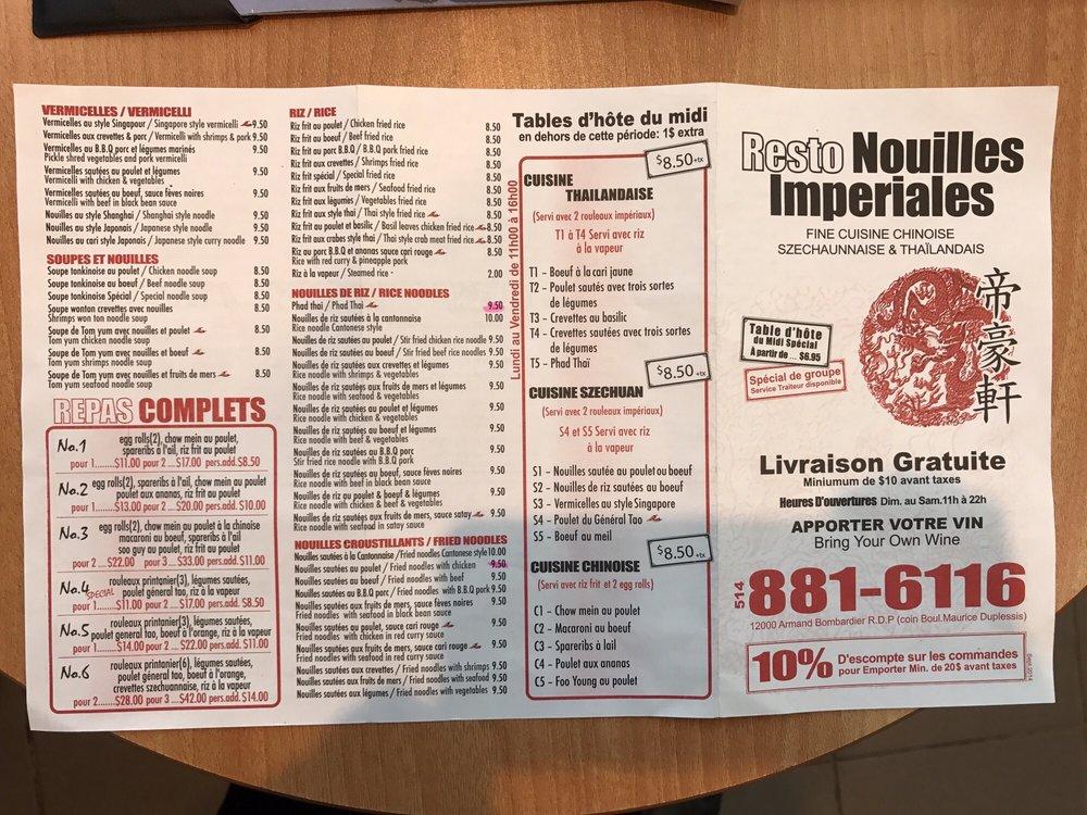Restaurant Nouilles Imperiales Menu