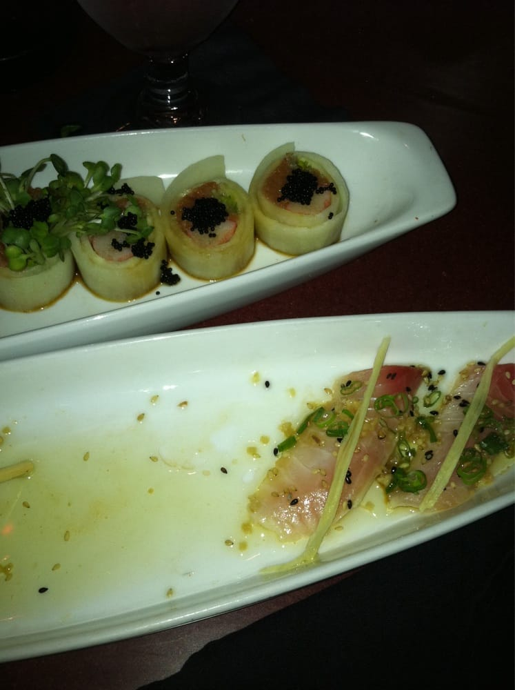 The wonder woman roll and the sizzling snapper sashimi are for Drunken fish kansas city