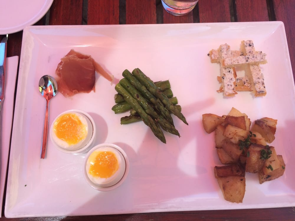 Deconstructed Eggs Prosciutto Asparagus And Truffle Toast Yelp