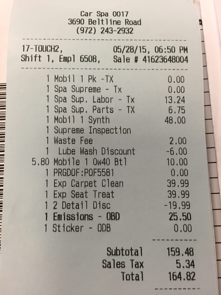 Receipt Of Services State Inspection Oil Change
