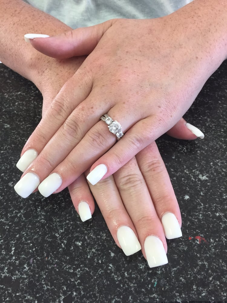 Set Of White Powder Acrylic Nails With Gel Top Coat Yelp
