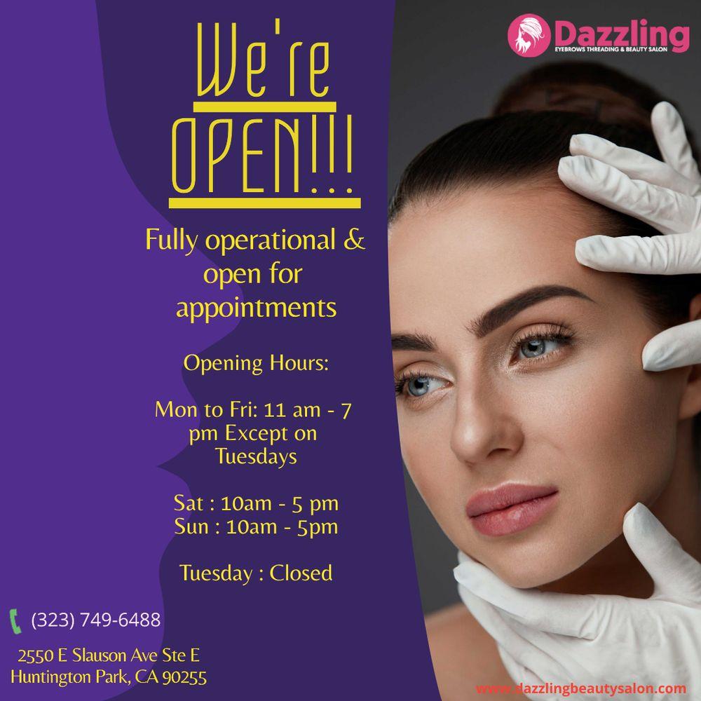 Dazzling Eyebrows Threading & Beauty Salon: 2550 E Slauson Ave, Huntington Park, CA