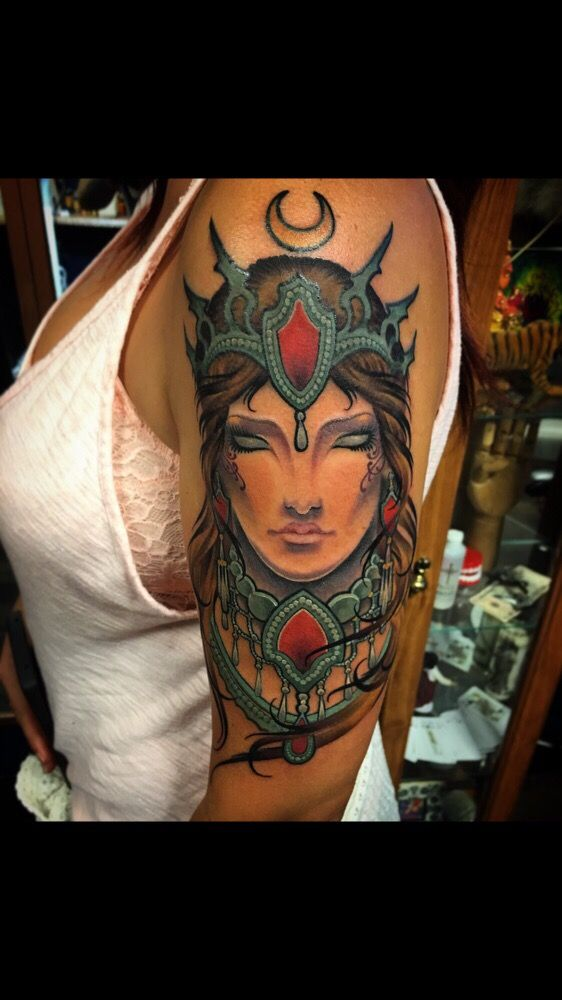 Art nouveau style goddess portrait by owner artist for Tattoo places in nashville