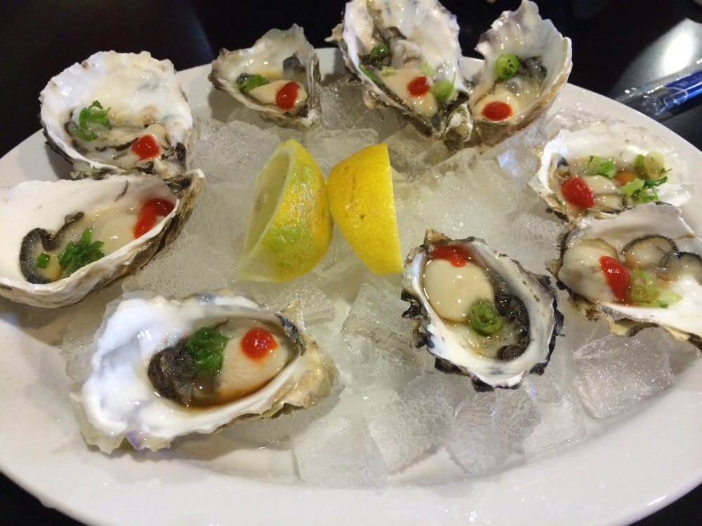 Yummy oyster 1ea on monday all day yelp for Angry fish sushi