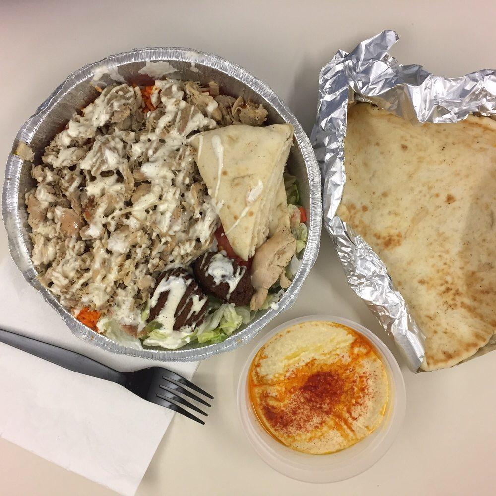 Dawali Mediterranean Kitchen Chicago: Regular Chicken Plate With White Sauce And Side Of Falafel