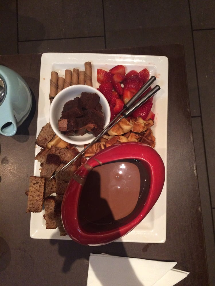 ... Chocolate fondue, banana cake, waffles, chocolate cake, chocolate