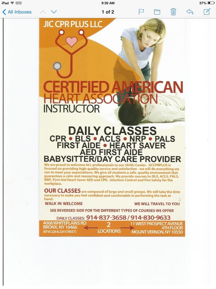 Jic Cpr Plus Cpr Classes 4068 White Plains Rd Edenwald Bronx