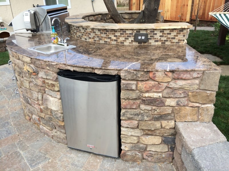 Custom Bbq Island With Natural Stone Marble Counter And