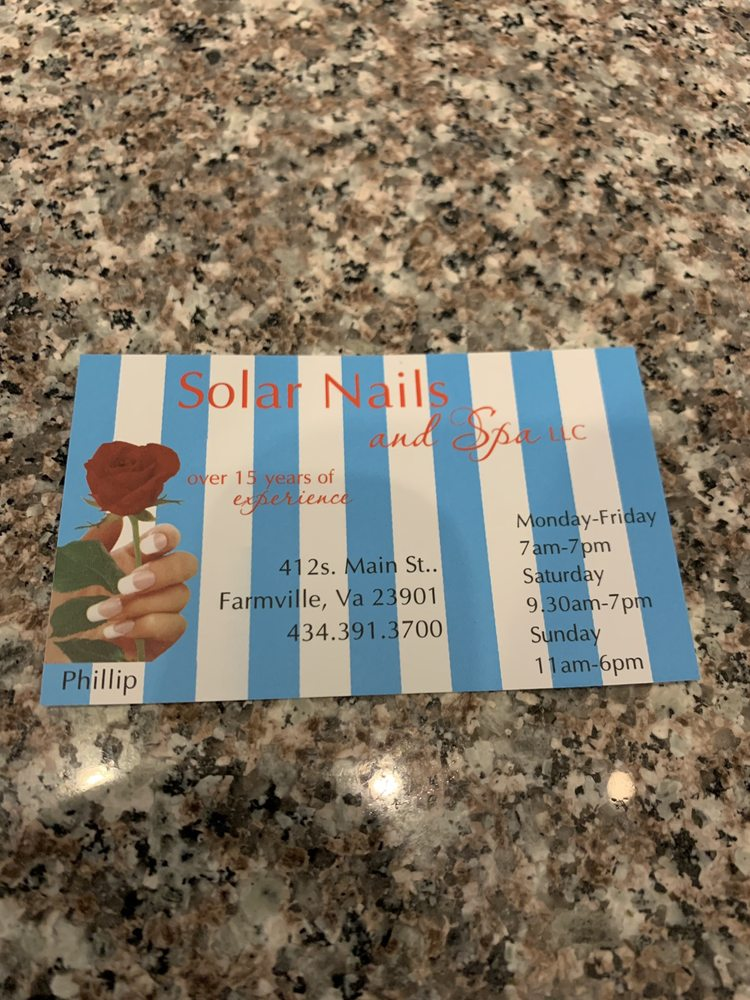 Solar Nails & Spa: 412 S Main St, Farmville, VA
