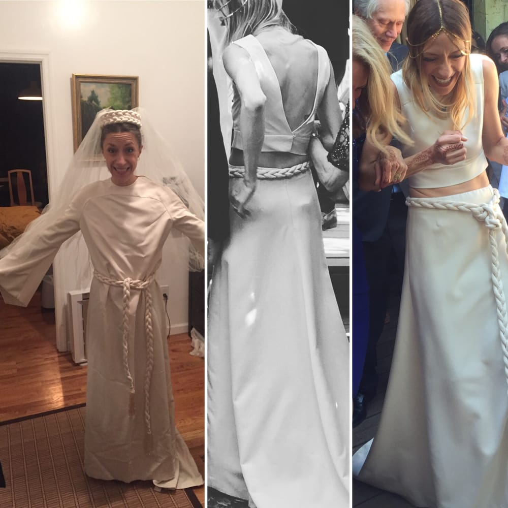 Before and after shots of my mom\'s wedding dress from 1970, altered ...