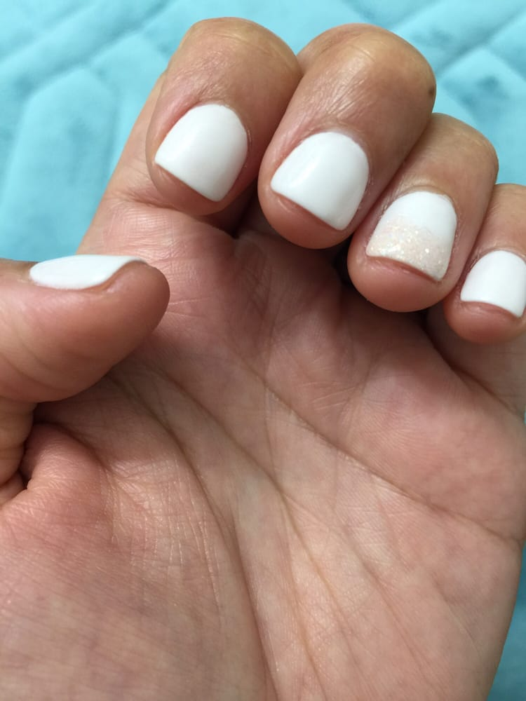 White SNS manicure with glitter fade (nail is drilled and this ...