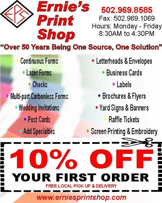 Ernie's Print Shop: 3394 Burkland Blvd, shepherdsville, KY