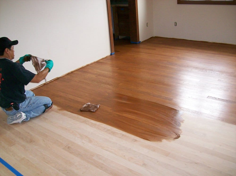 Staining aa american cherry hardwood floor yelp for Hardwood floors las vegas