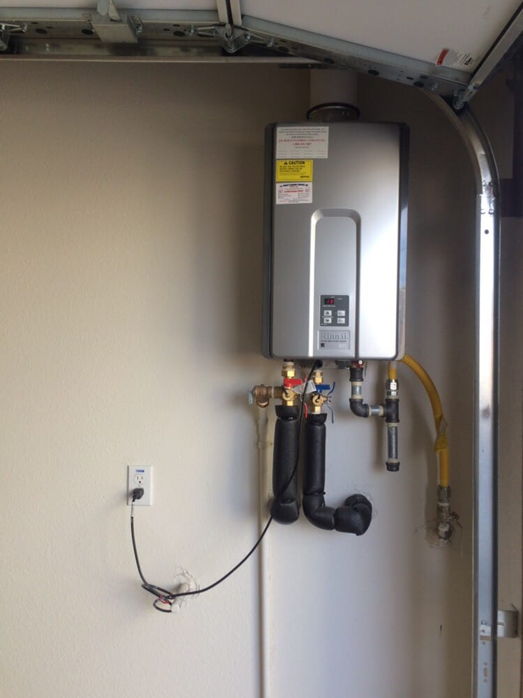 tankless water heater, in direct vent installation in garage. - yelp