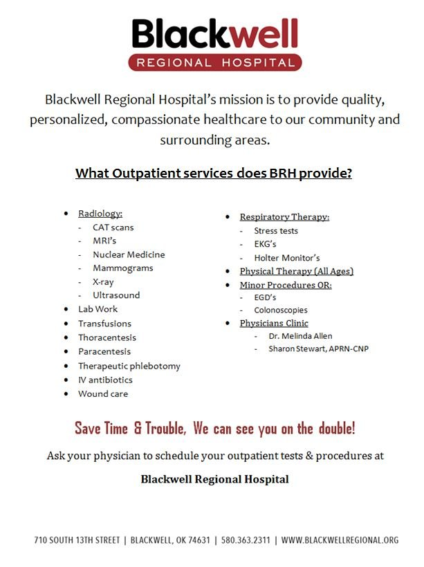 Blackwell Regional Hospital: 710 S 13th St, Blackwell, OK