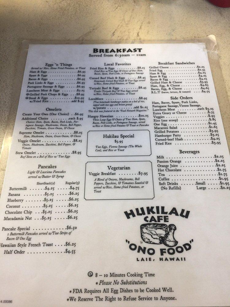 Hukilau Cafe Menu