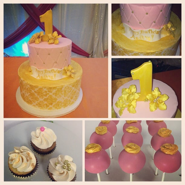 Pink And Gold 1st Birthday Cake Yelp