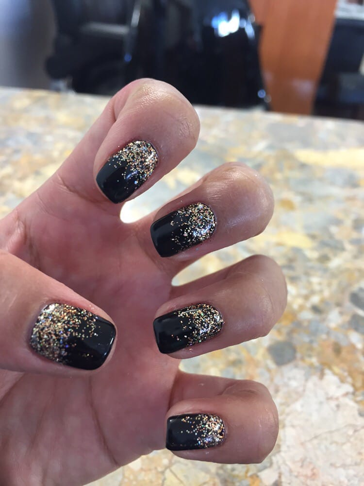 Black gel nails with gold glitter - Yelp