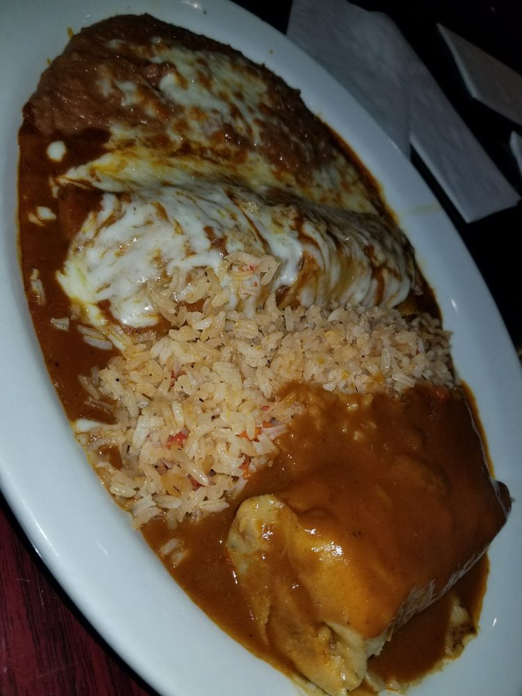 Lunch 2 item Pork tamale beef enchilada with rice and beans Yelp