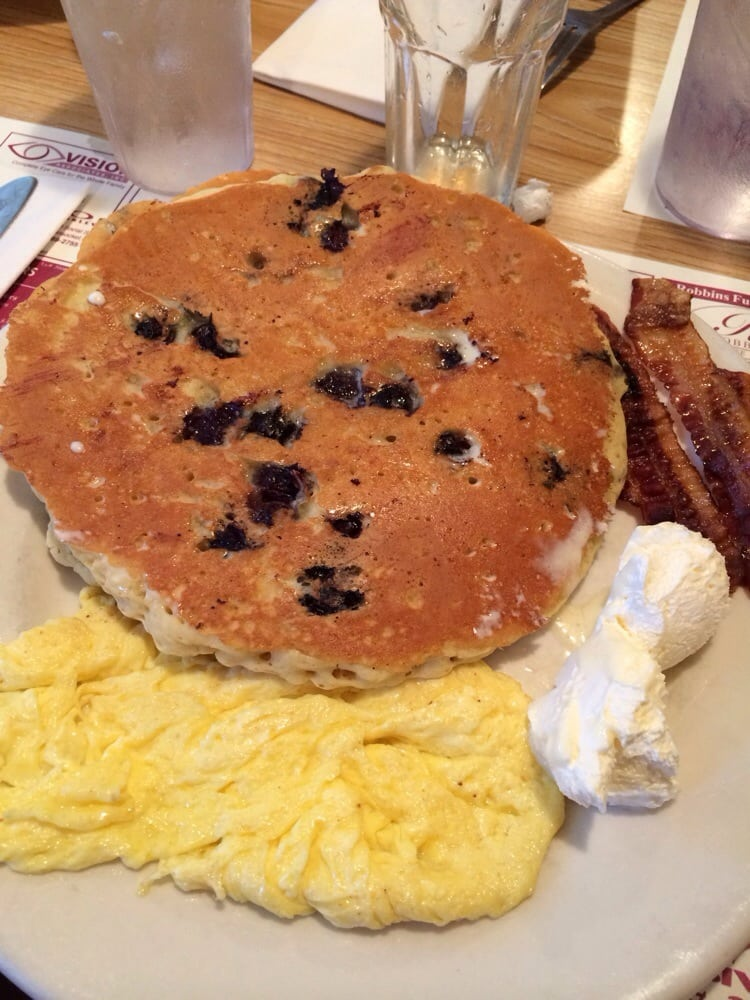 Blueberry pancakes with scrambled eggs and bacon | Yelp