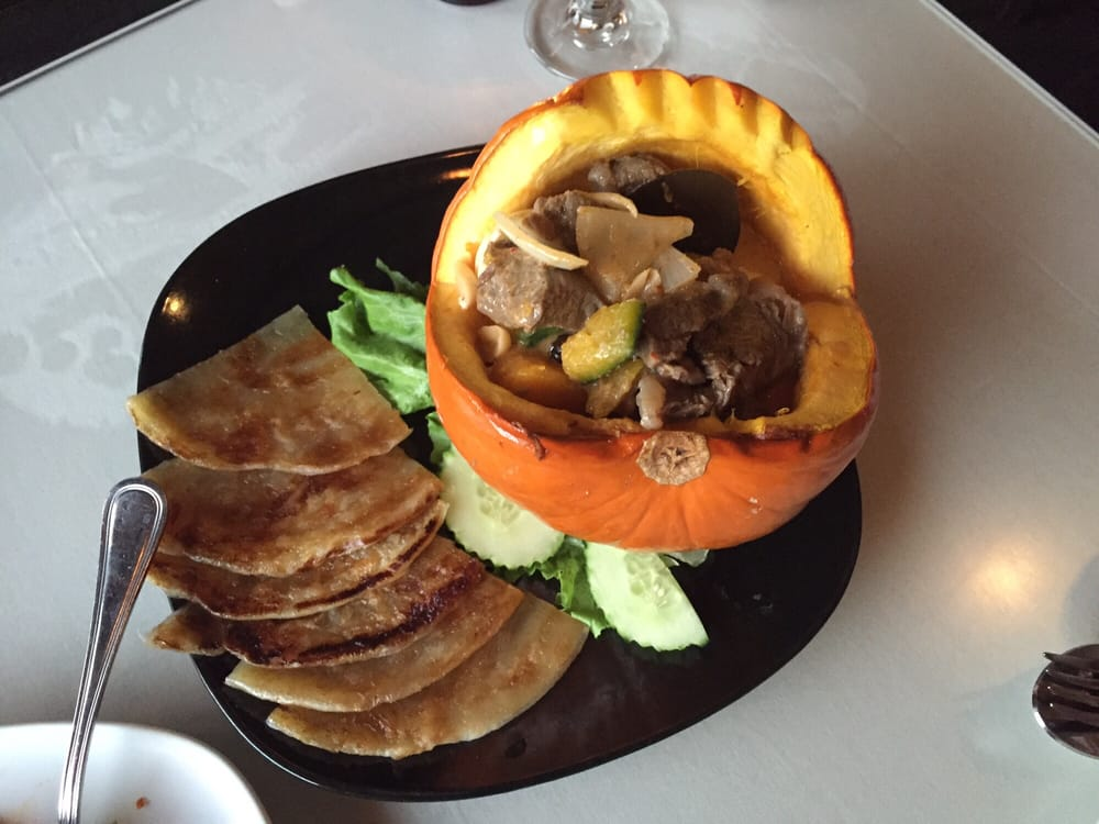 Pumpkin filled with rib eye onion pumpkin and an awesome for Amarin thai cuisine