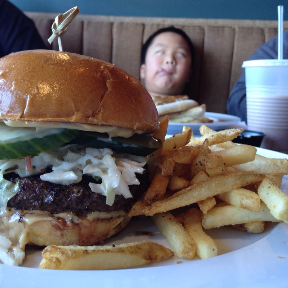 Far east burger with an awesome photo bomb by cohen yelp for Whiskey kitchen virginia beach