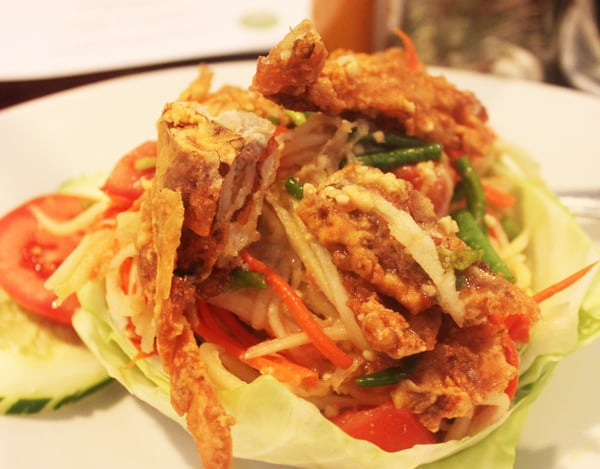 Deep fried soft shell crab papaya salad http www kailayu for Ayara thai cuisine los angeles ca