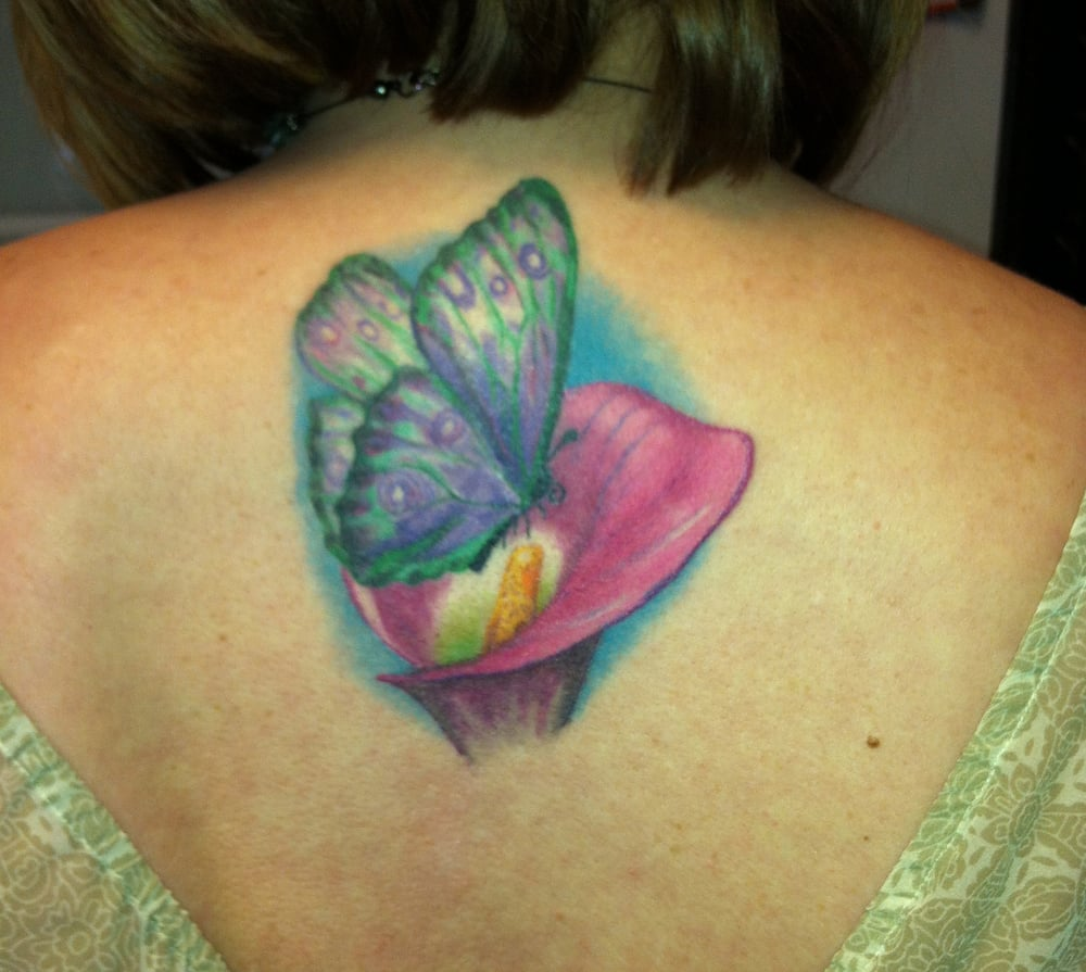 Butterfly and calla lily by shawn at skin deep tattoo yelp photo of skin deep tattoo body piercing omaha ne united states izmirmasajfo