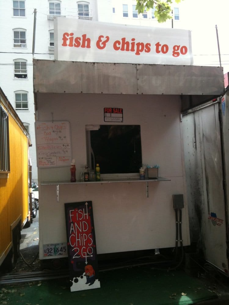 Fish and chips to go food stands sw oak st downtown for Oak city fish and chips