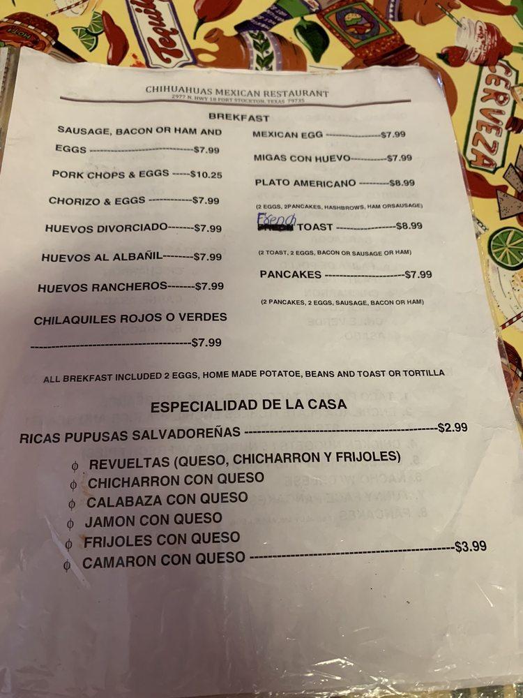 Chihuahuas Mexican Restaurant: 2977 N Hwy 18, Fort Stockton, TX