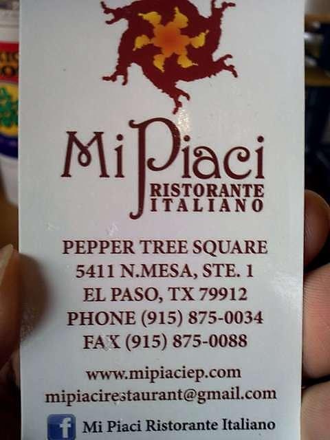 Mi piaci ristorante italiano pepper tree square 179 for Italian el paso tx